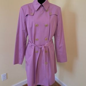 Lavender purple midi length trench coat